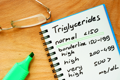 Triglycerides Chart Info on note pad